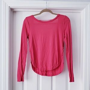 Splendid Pink Backless Split Side Long Sleeve Tee